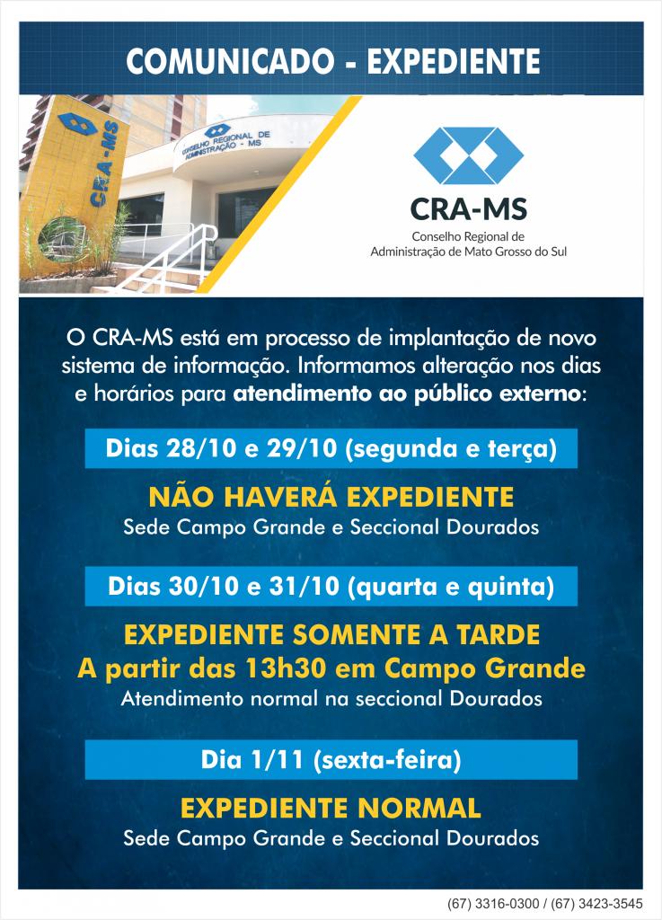 CRA-MS altera atendimento ao público de 28 a 31 de outubro