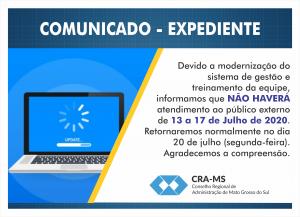 CRA-MS suspenderá atendimento para instalar novo sistema de gestão e treinar a equipe