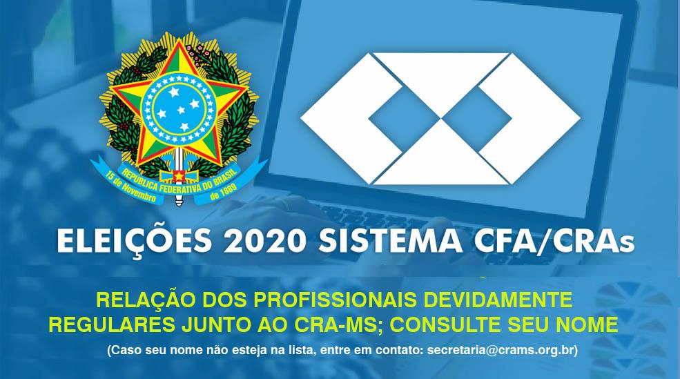 CRA-MS publica relação de profissionais regulares com direito a voto nas eleições do Sistema CFA/CRAs